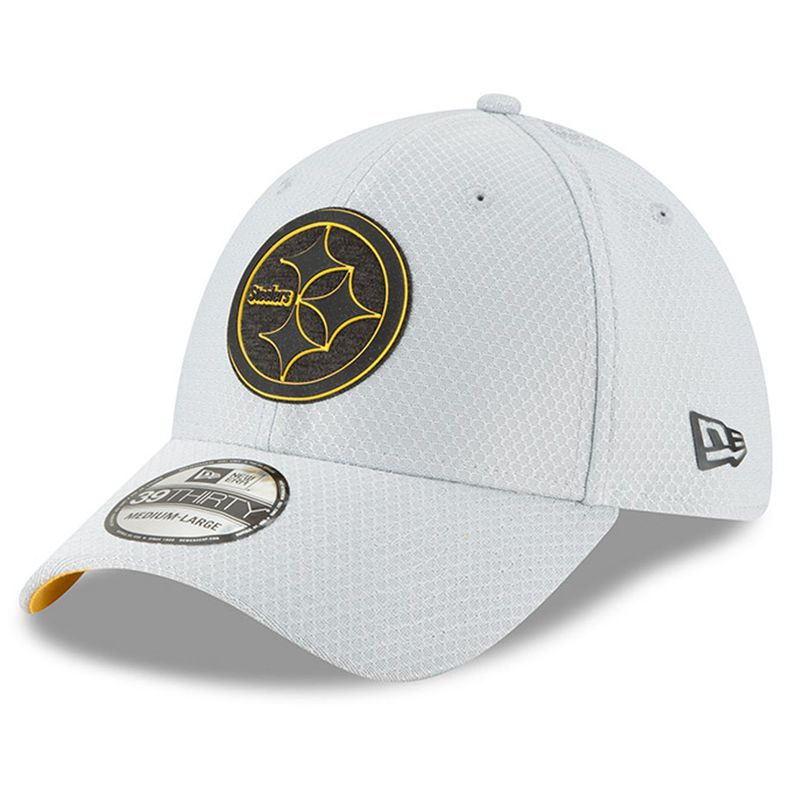 Mens New Era Pittsburgh Steelers 2018 NFL Gray Training Camp Official  39THIRTY Flex Hat eaeb41ed3817