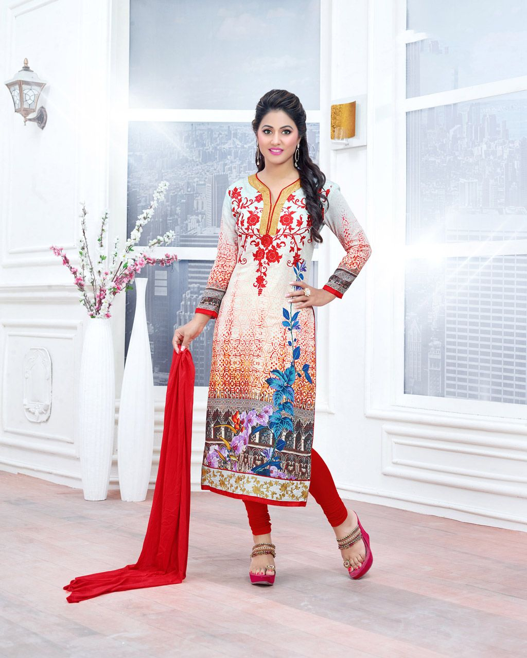 Hina Khan Off White Cambric Cotton Churidar Suit 70264