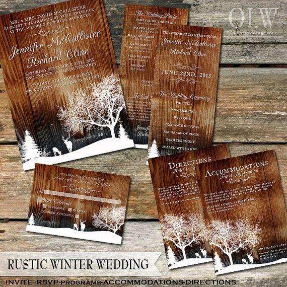Country Wedding Invitations Set Winter Wedding Invites