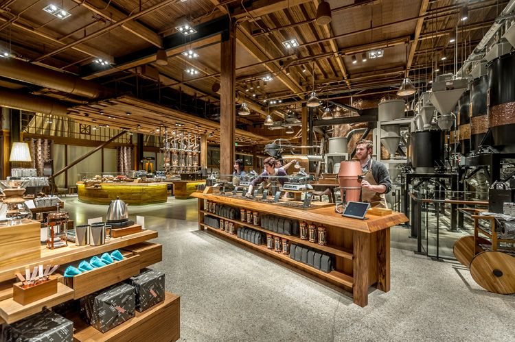 Starbucks Reserve Roastery and Tasting Room in Seattle. The experience features a Scoop Bar, where you can buy coffee buy the scoop. #retail #experiential