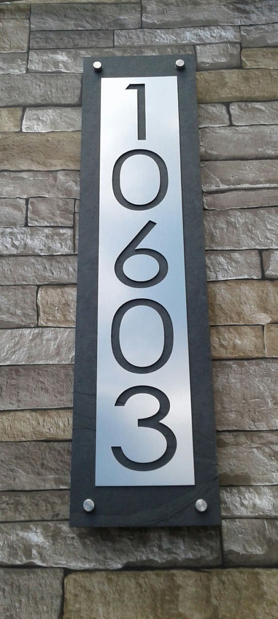 Mid Century Modern Home Address Sign Vertical Customized House Numbers Plaque House Numbers House Address Sign Mid Century Modern House