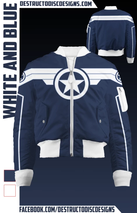 White and Blue Bomber Jacket #pictureplacemeant