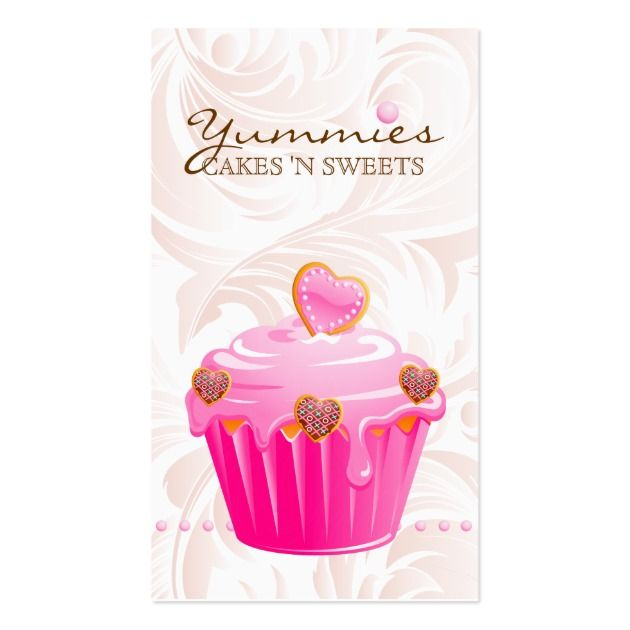 Make a terrific first impression with this Bakery Leaf Hearts Pink Cupcake Icing Dots Business Card. Customise this design as your own just in minutes.