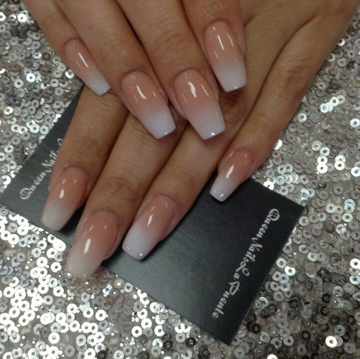 Peach To White Ombre Ombre Nails Peach Nails White Nails