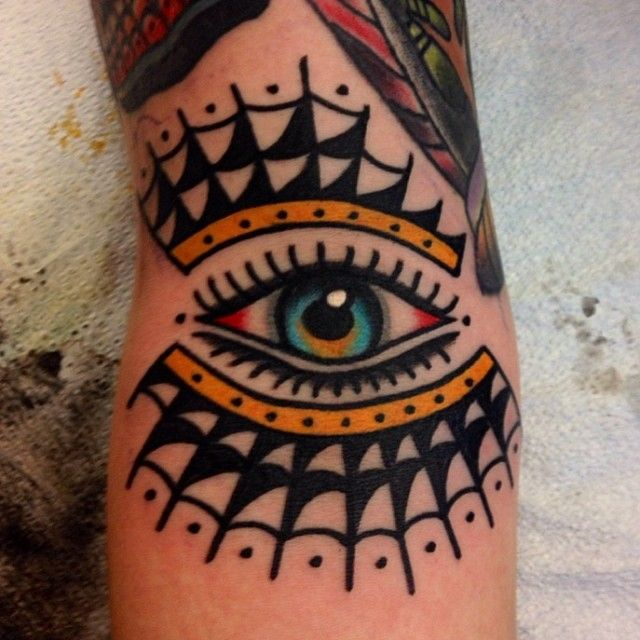 2e4ba4a81 Old-school style eye and spider web tattoo | < Traditional Tattoos ...