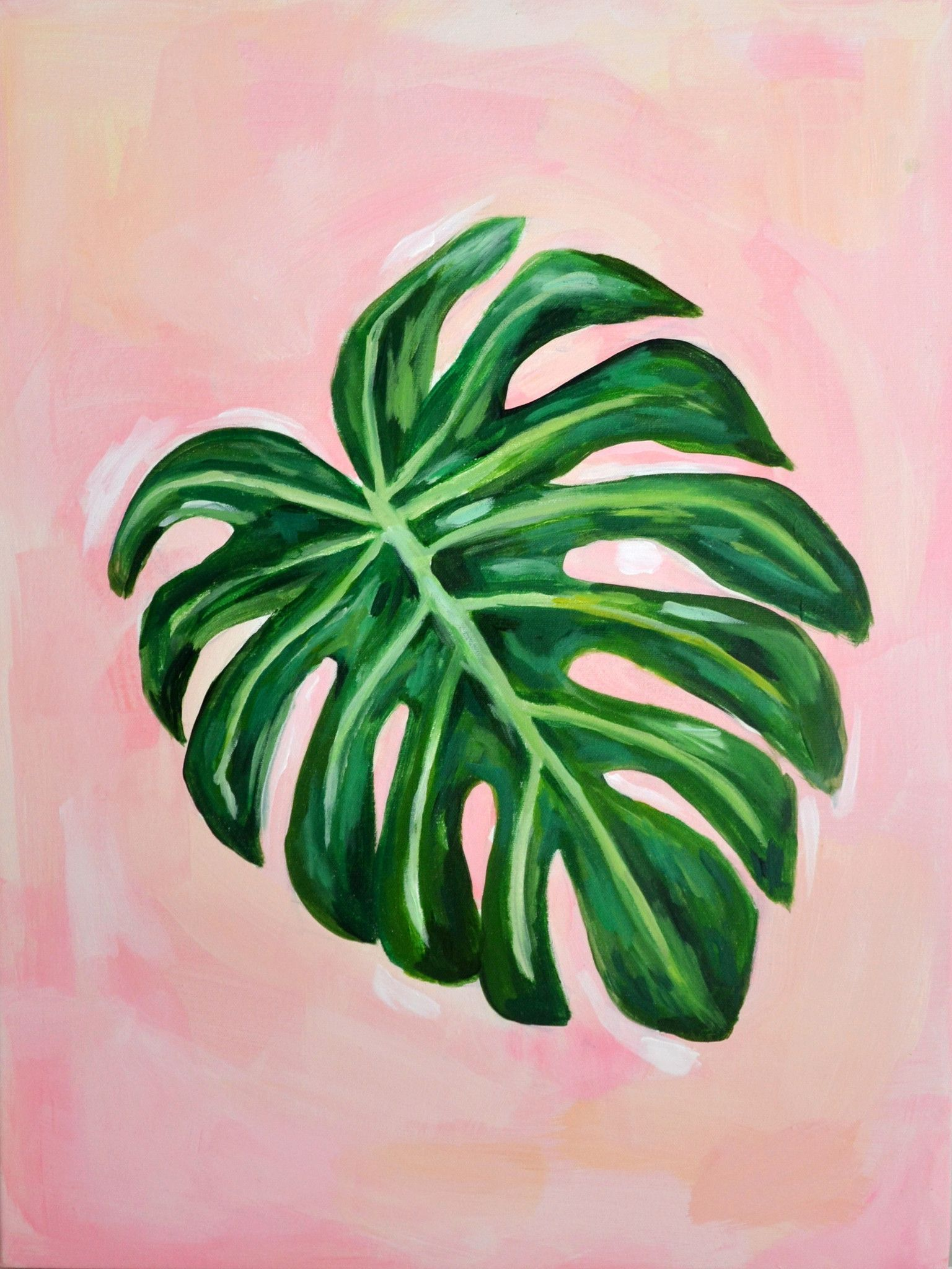 Blushing Tropical Leaf 1 Canvas Painting Diy Flower Painting Canvas Canvas Painting Tutorials Finish the leaves and tropical flowers with smaller brush and black paint. pinterest