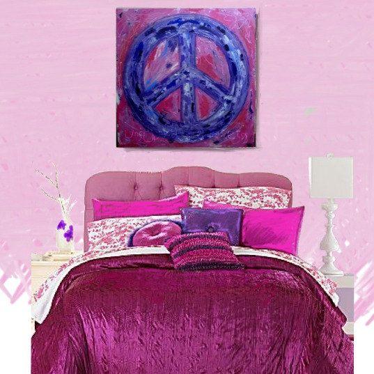 Peace Sign Bedroom Accessories: Peace Sign Art For Tween Room