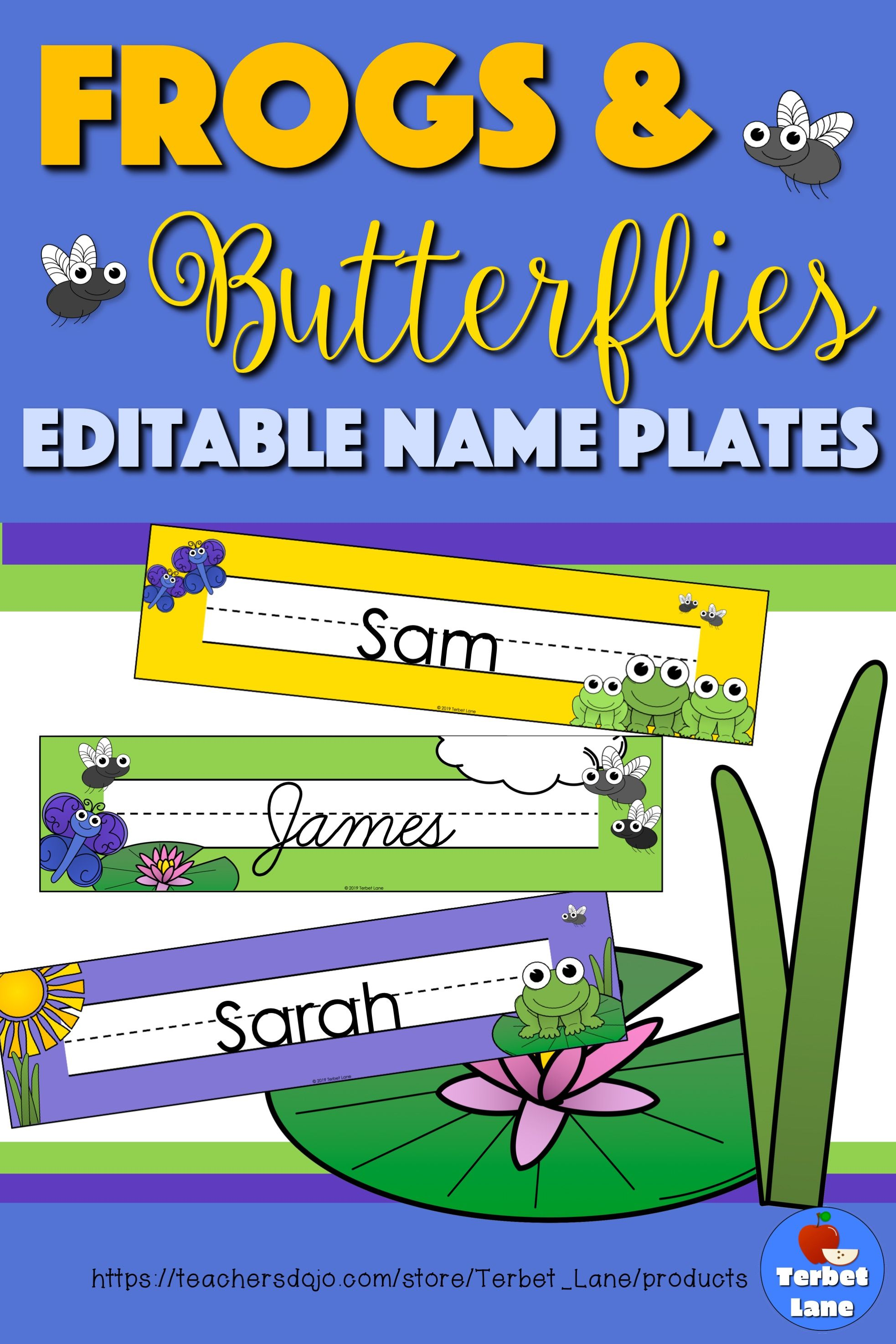 Editable Frog And Butterfly Themed Student Desk Name Tags