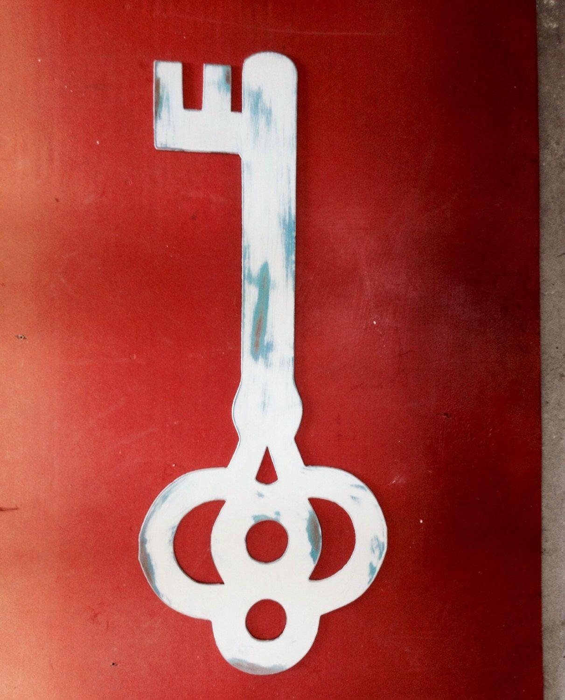 Steel skeleton key large wall art sculpture beach house decor by