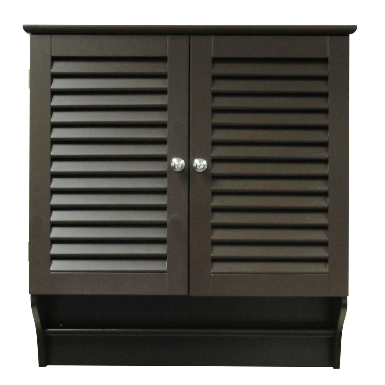 Espresso Wall Mounted Bathroom Cabinet with Shelves and Towel Bar ...