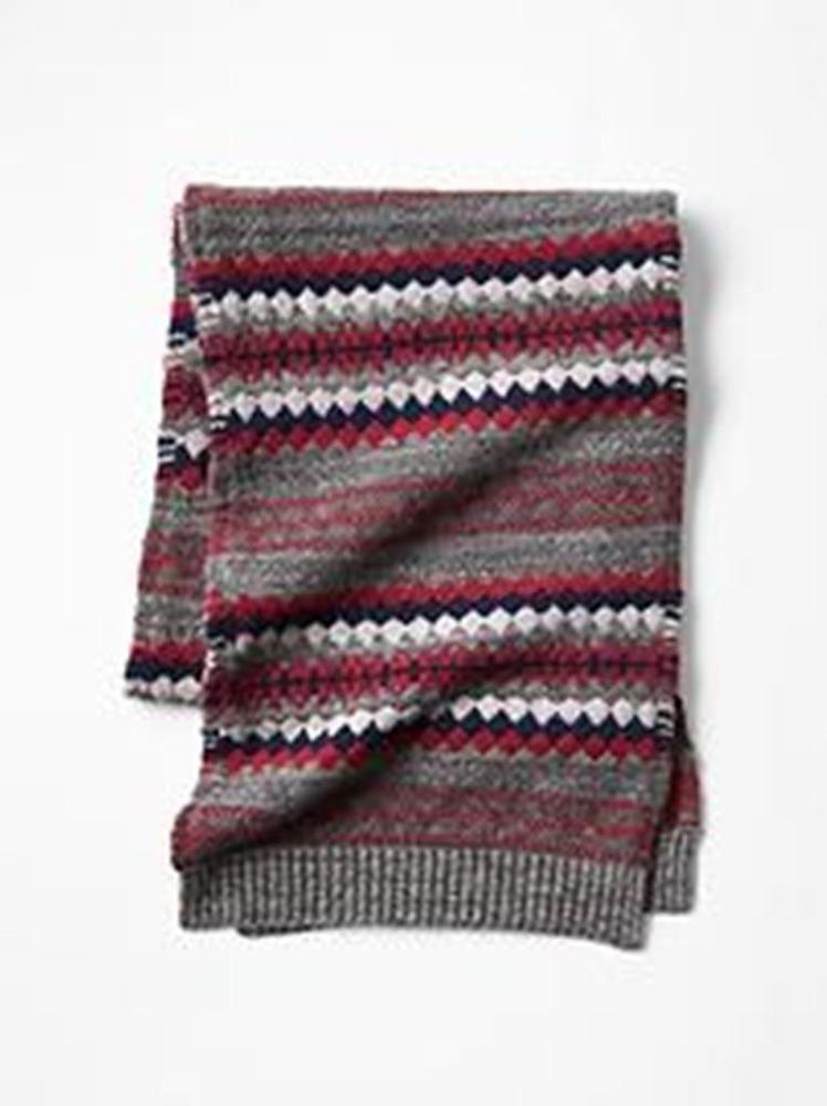 Men Winter Scarf GAP Fair Isle Classic Red Gray Black Wool Lamb + ...