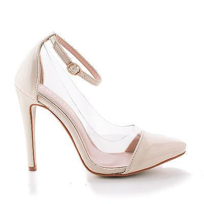 df584b727ff34 Olga1A By Liliana, Pointy Toe Lucite Clear Ankle Strap Stiletto ...