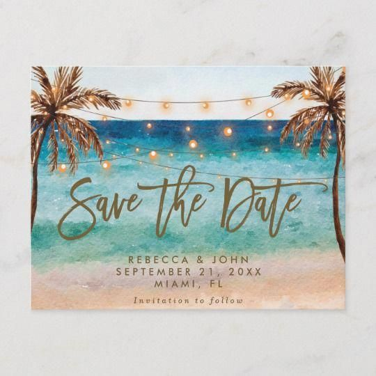boho beach wedding save the date postcard | Zazzle.com
