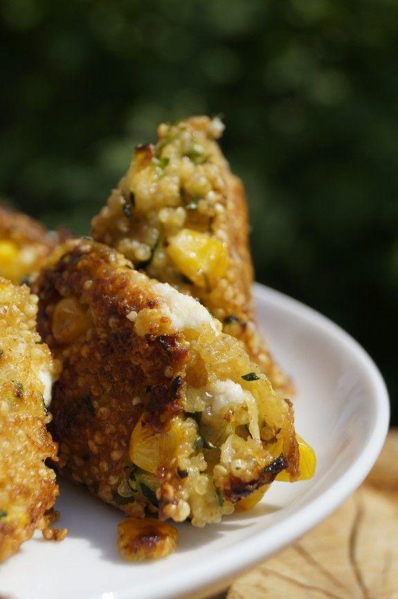 Quinoa – Patties mit Feta, Zucchini und Mais