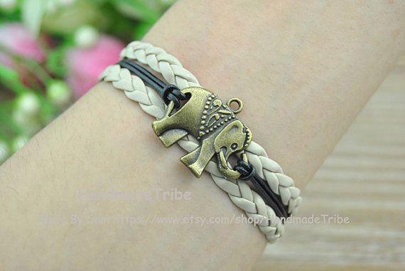 Elephant BraceletBlack Rope And Gray Braided by HandmadeTribe, $2.50 Lovely handmade jewelry