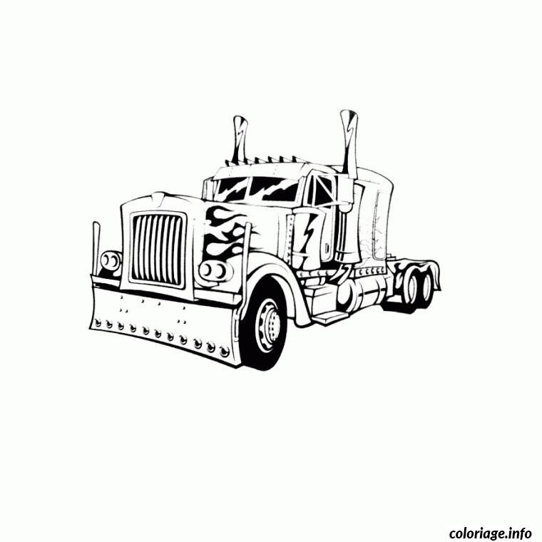 Coloriage Camion Americain De Profil Dessin à Imprimer