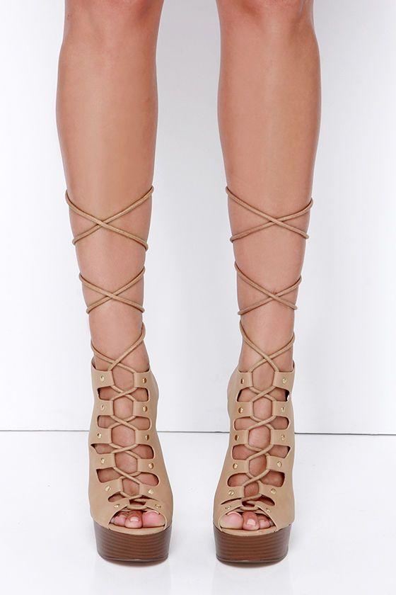In Rare Platform Natural Lace-Up Platform Heels at Lulus.com!