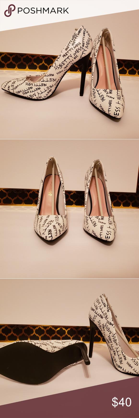 Pretty Mess Graffiti Pumps Shoes Women Heels Pretty Mess Heels