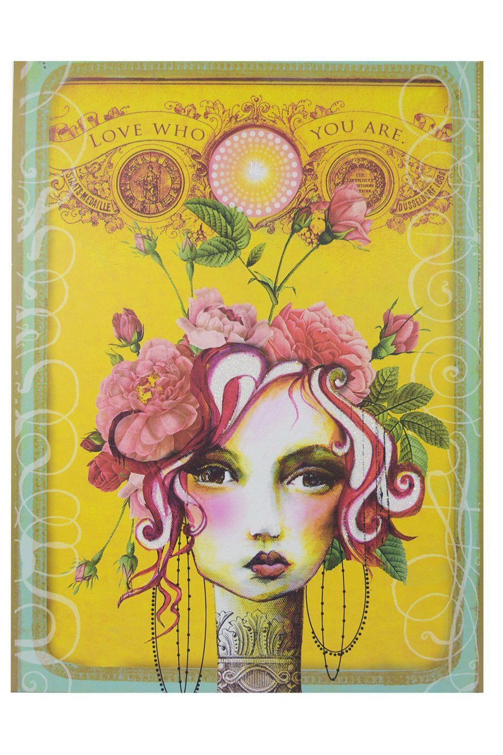 Vintage Inspired Art Beautiful Victorian Lady with Pink Rose Wall ...