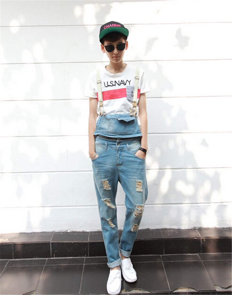 6fa77f8d99ef Click to Buy    2017 Spring Summer Fashion Casual Men s Ripped Hole Denim  Bib Pants