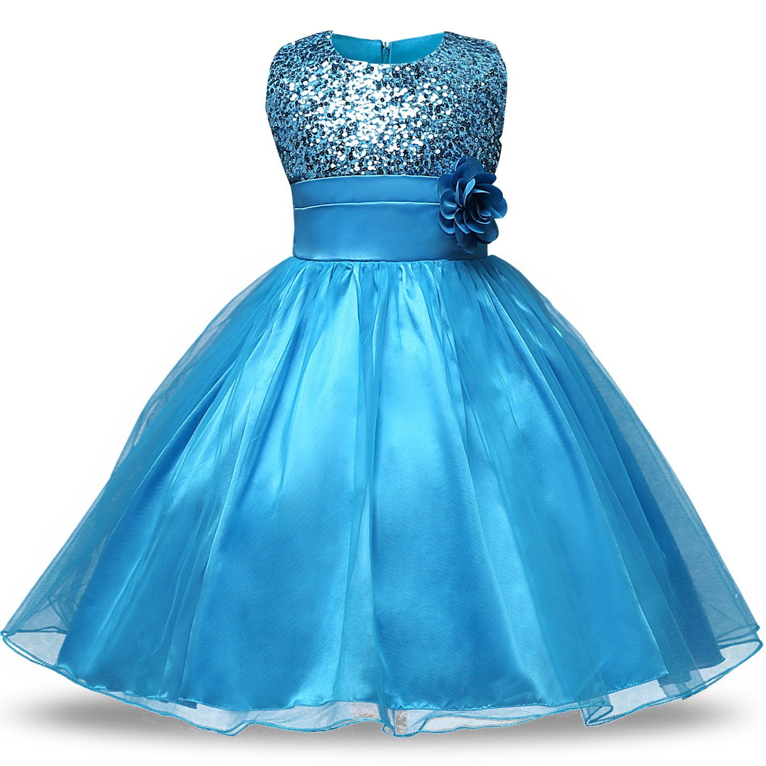 NNJXD Girl Flower Sequin Princess Tutu Tulle Baby Party Dress Size 3 ...