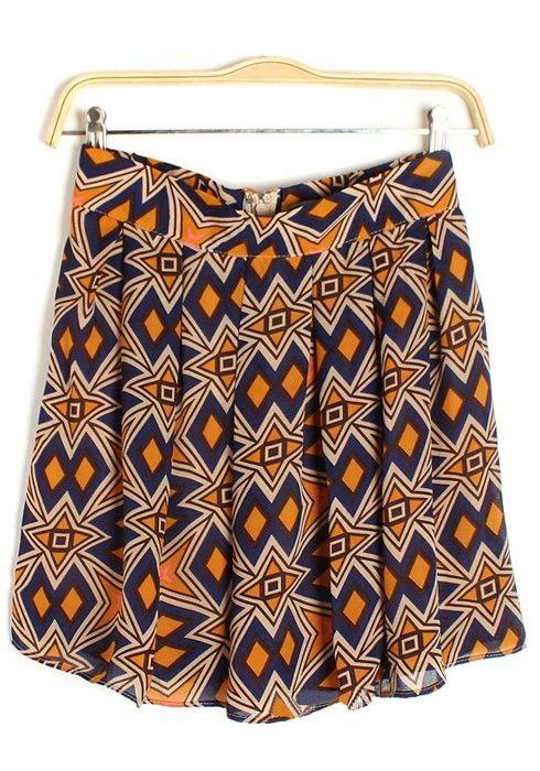 Geometric  Chiffon Skirt