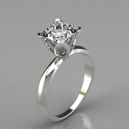 b481d2579 Tulip Head Solitaire Engagement Ring (063w). This Classic Tulip Solitaire  Princess Cut Engagement