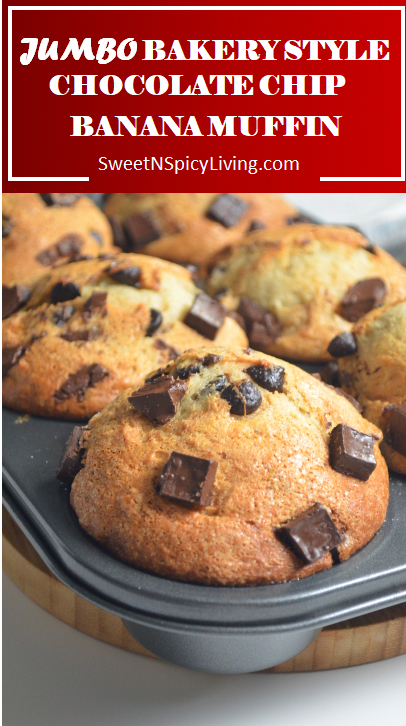 Photo of [VIDEO ]Bakery Style Jumbo Banana Chocolate Chip Muffin