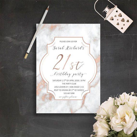 21st Birthday Invitations Rose Gold Invite Elegant Marble In