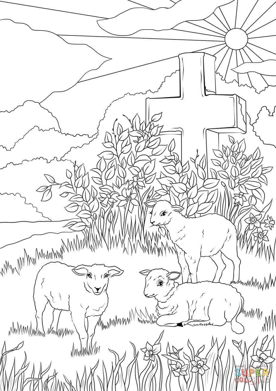 Easter Lambs And Jesus S Cross Coloring Page Free Printable