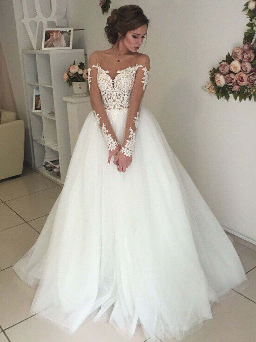 Long Sleeves Lace Illusion Neckline Wedding Dresses Bridal Gowns ...