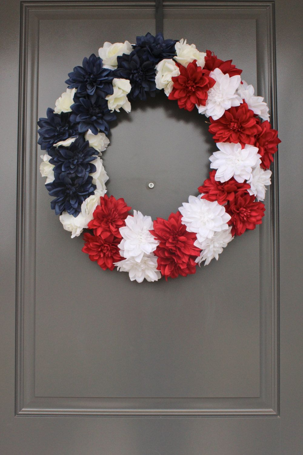 Patriotic Red White And Blue American Flag Silk Flower Front Door