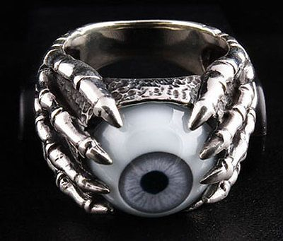 EYEBALL CLAW 925 STERLING SILVER MENS RING Sz 9 NEW GOTHIC EYE BIKER ROCKER