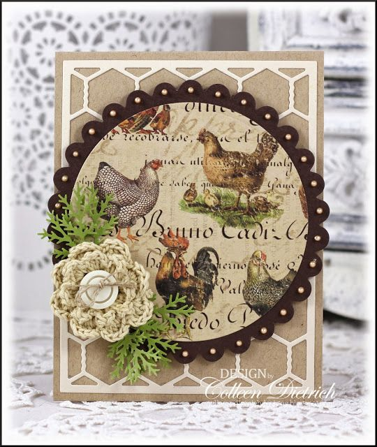 Vintage rooster greeting card; chicken wire die, crochet flower, branch punched greens.