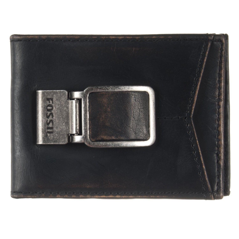 Fossil carson black bifold money clip id wallet wallet