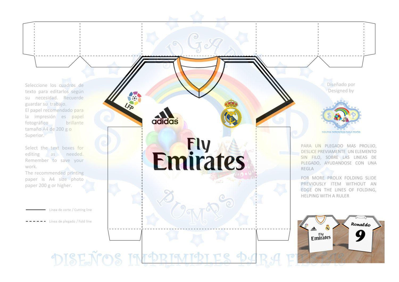 90150573b0 Real Madrid Caja imprimible estilo camiseta de futbol