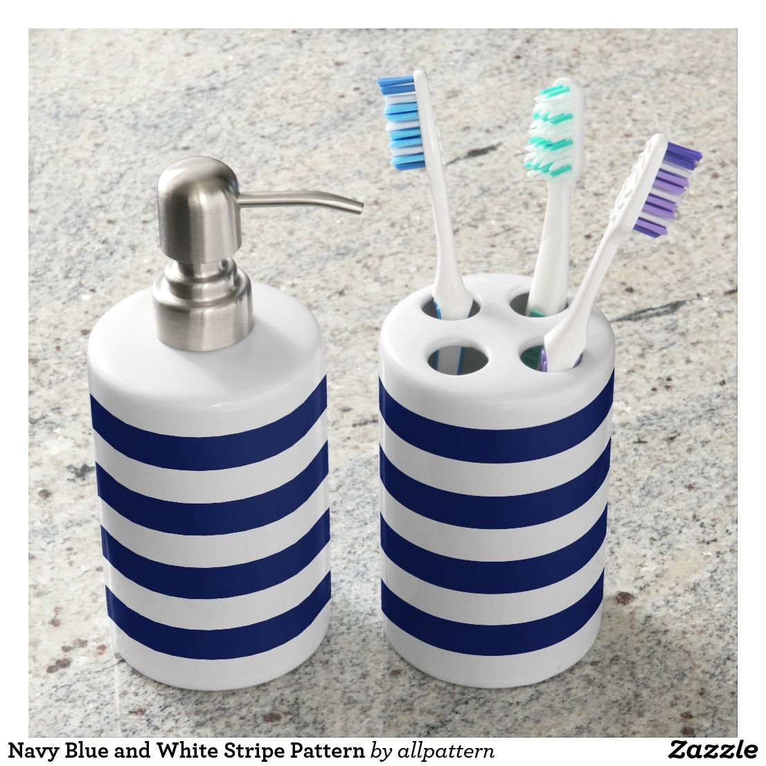 Navy Blue and White Stripe Pattern Soap Dispenser & Toothbrush ...