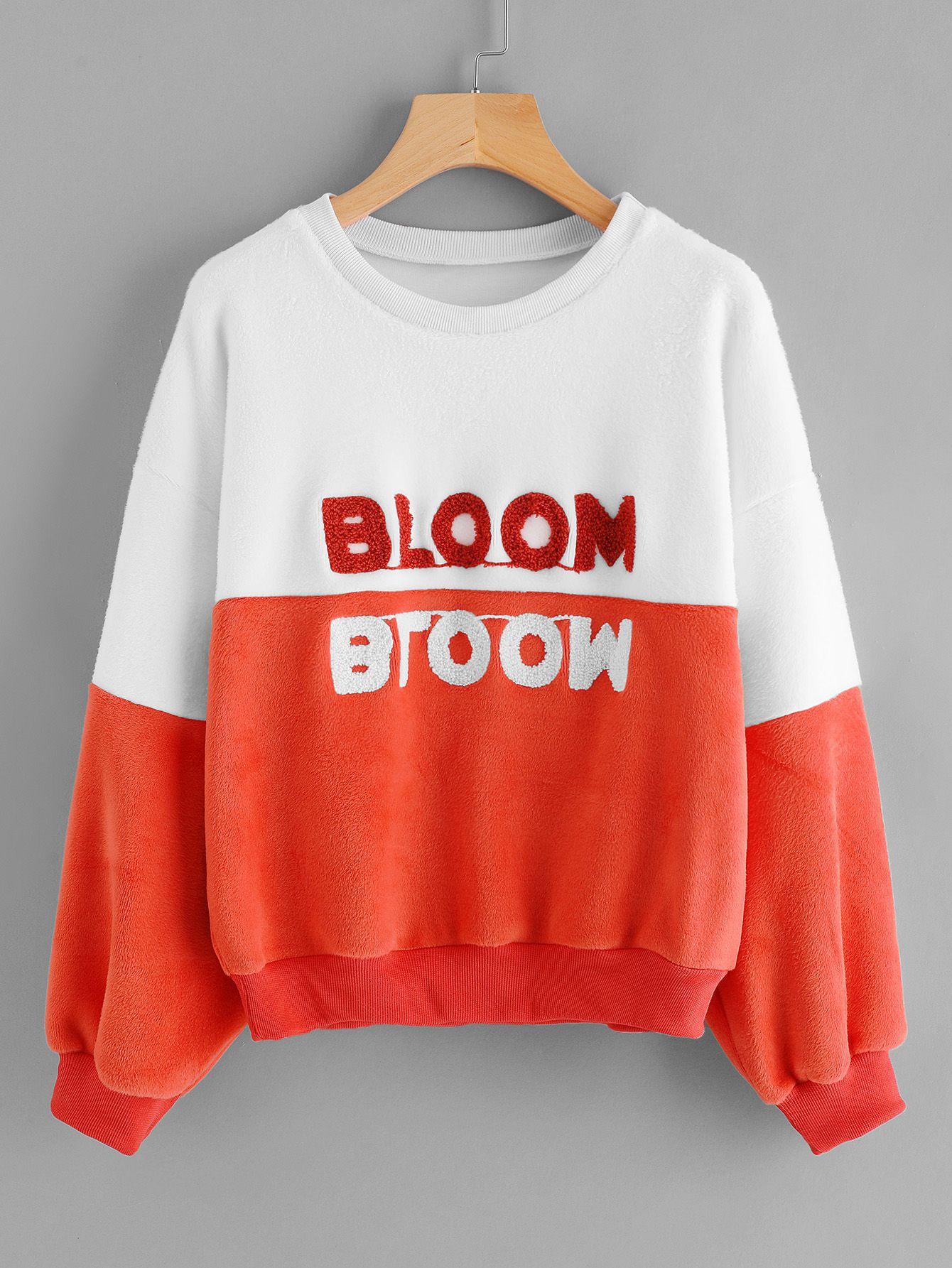 Two Tone Flock Embroidered Fleece Sweatshirt