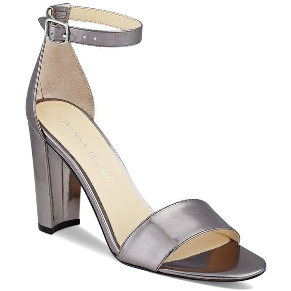 Ivanka Trump Emalyn Metallic Ankle Strap Block Heel Sandals ($125) ❤ liked  on Polyvore