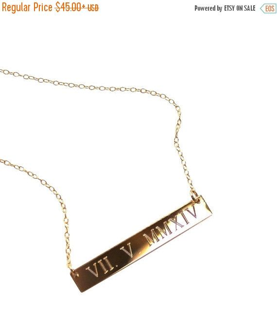 7a4c4d31f ON SALE WEDDING Date Gold bar Necklace Roman by LillaDesigns ...
