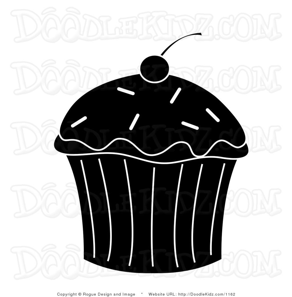 Clip Art Illustration of a Cupcake Silhouette   printables ... (1024 x 1044 Pixel)