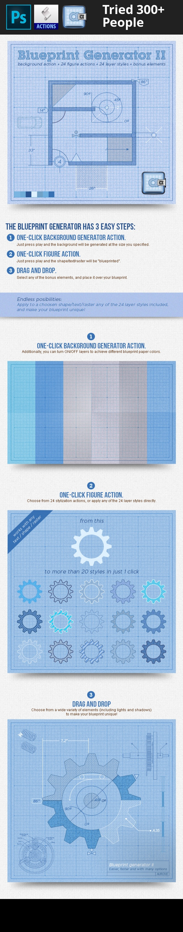 Blueprint generator ii action layer styles layer style and photoshop action professional project sketch blueprint generator ii action overview the fastest way to make your own blueprint background with one malvernweather Choice Image