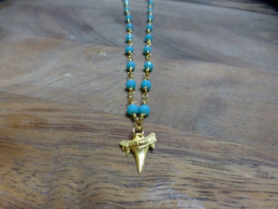 Turqoise and Gold Shark Tooth Necklace by HastonKing on Etsy