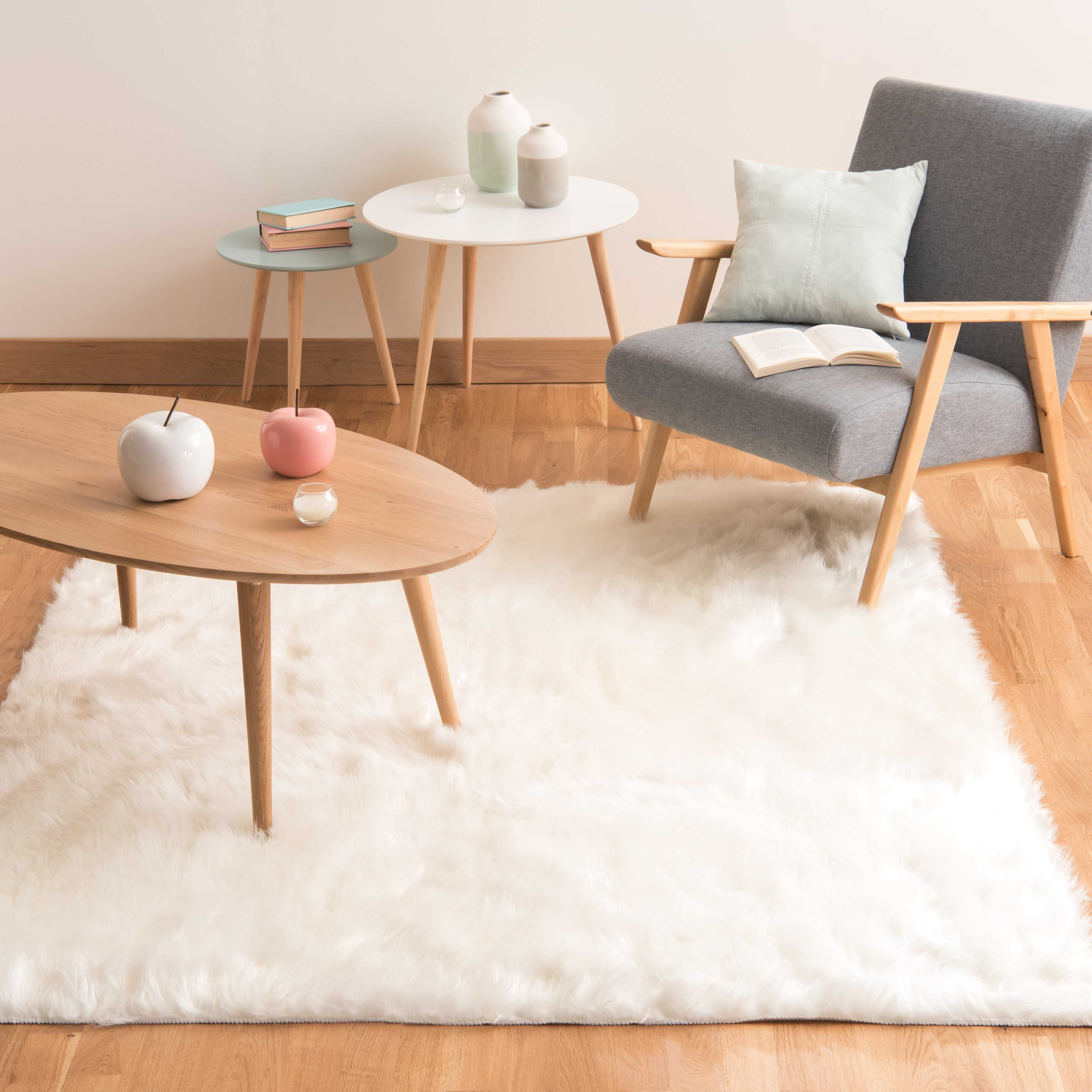 tapis en fausse fourrure blanc 160 x 230 cm oumka - Tapis Blanc