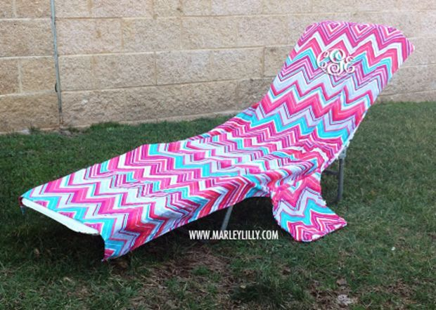 Monogrammed Lounge Chair Cover | Beach Lounger Towel | Marley Lilly - Beach Lounge Chair Cover- Has A Pocket For Your Shades, Phone