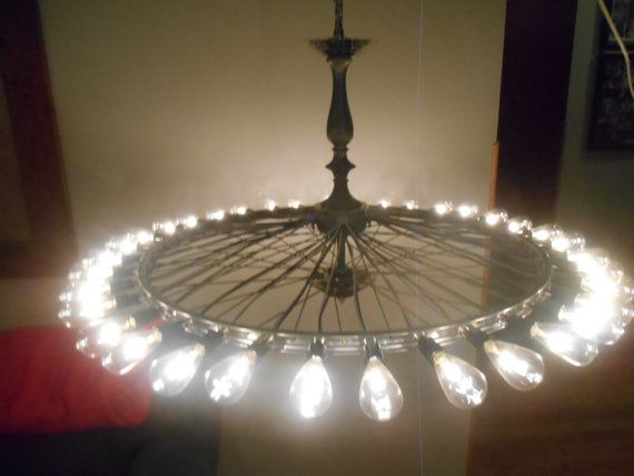 Bike wheel chandelier   Lighting   Pinterest   Wheel chandelier ...