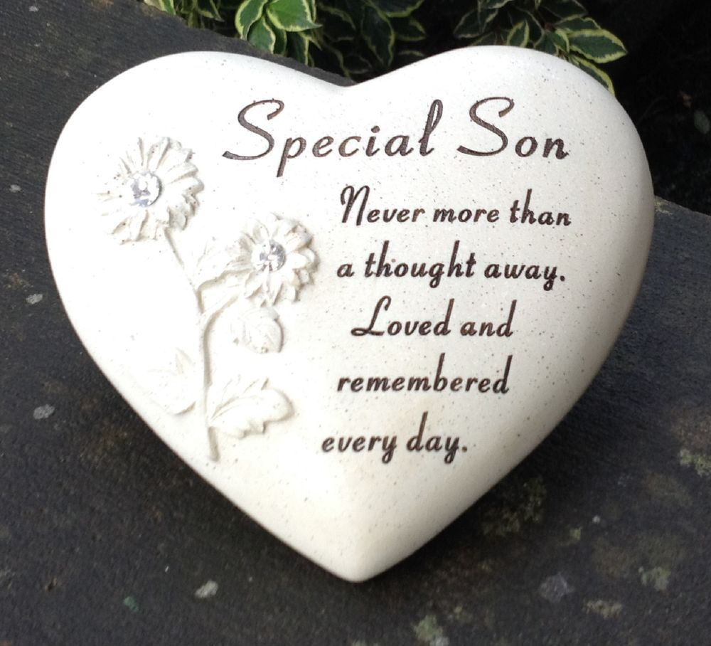 Details about memorial for special son heart shaped grave