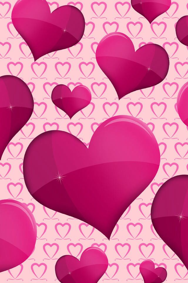 WALLPAPER WITH PINK HEARTS IN THE BACK AND DARK FRONT