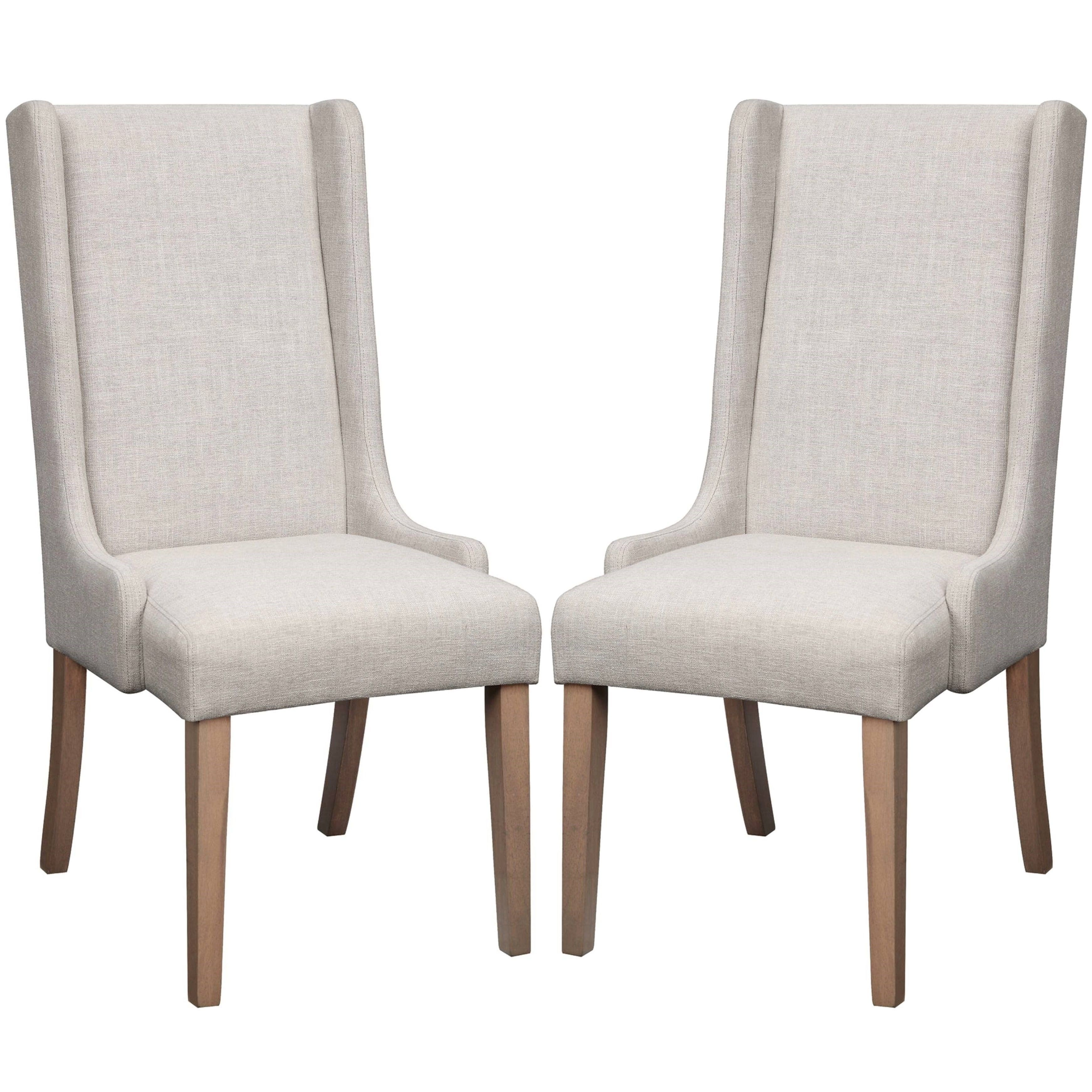 Wing Back Design Beige Dining Chairs (Set Of 2) (Set