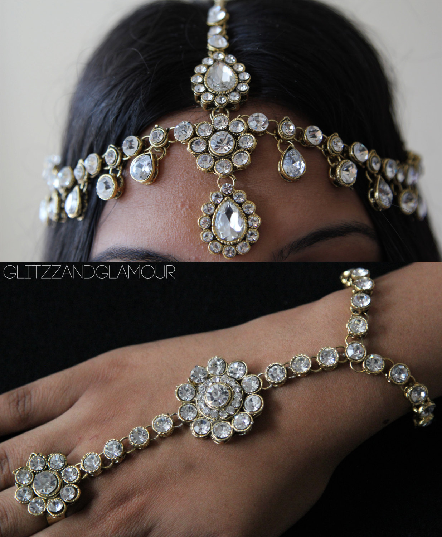 Handmade Kundan stones head chain headpiece by